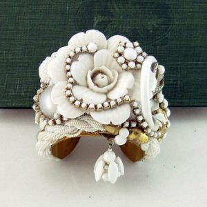 White Porcelain Rose Cuff Bracelet | Art Couture Jewelry