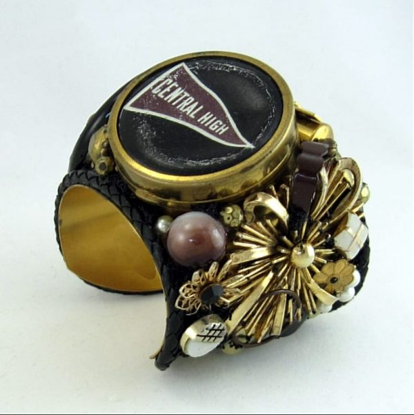 Central High Compact Story Art Cuff; Vintage WWII Components