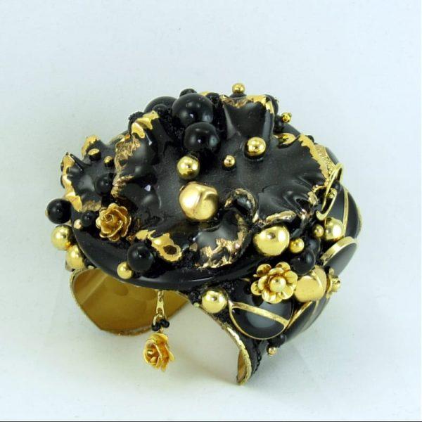 Crushed Black & Gold Blossom Couture Cuff