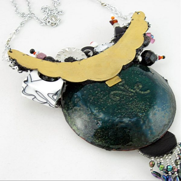 Flowers in a Lightning Storm Enameled Copper Couture Necklace