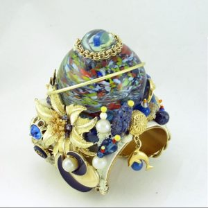 Sea Glass Art Cuff Bracelet