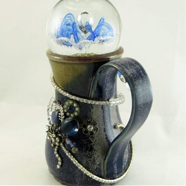 Art Glass & Clay Candle Holder