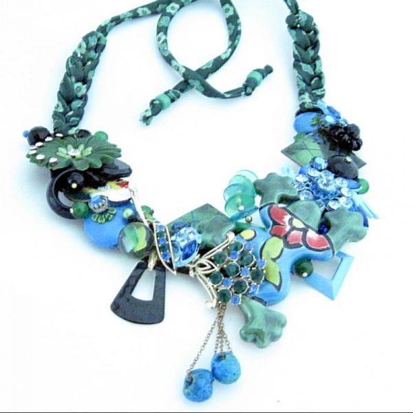Frog Fiesta Bib Necklace in Blue