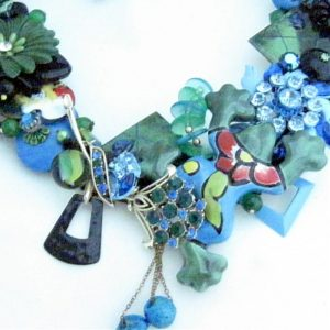Frog Fiesta Bib Necklace in Blue