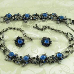 Blue Cabochon Pinecone GERMAN Vintage Rhinestone Parure - Necklace Bracelet Earring Set