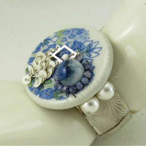 Blue Iris White Porcelain Wearable Art Bracelet