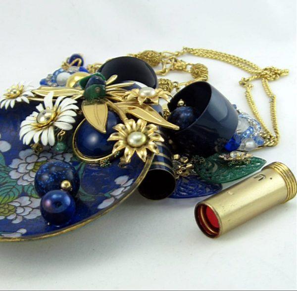 Blue Cloisonne & Lipstick Art Couture Necklace