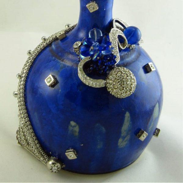 Celestial Crystal Glaze Blue Clay Candle Holder