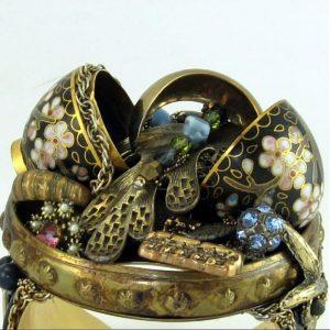Split Cloisonne Egg Trinket Box Art Couture Cuff