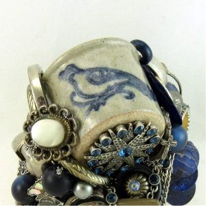 Blue Bird Crockery Glazed Stoneware Structural Art Cuff