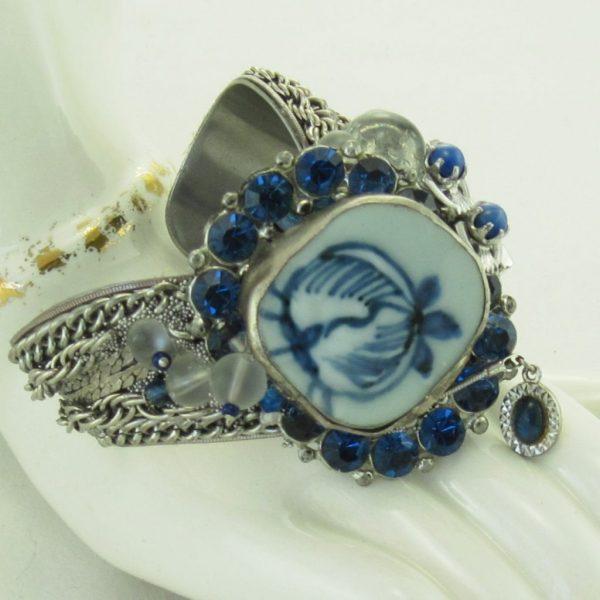 Costume Jewelry Cuff- Midnight Blue China Shard