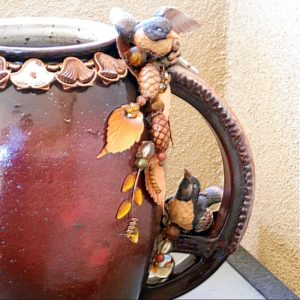 Robins & Pine Cones on Celtic Pottery Pitcher Structural Art