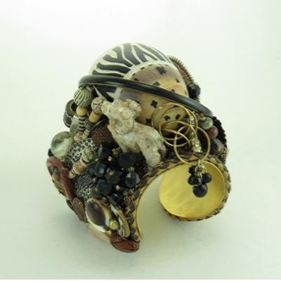Animal Print Stone Egg Couture Cuff
