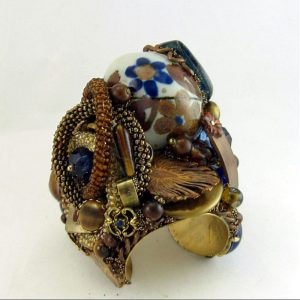 Midnight Blue Art Glass Cuff - Sculptural Assemblage Bracelet