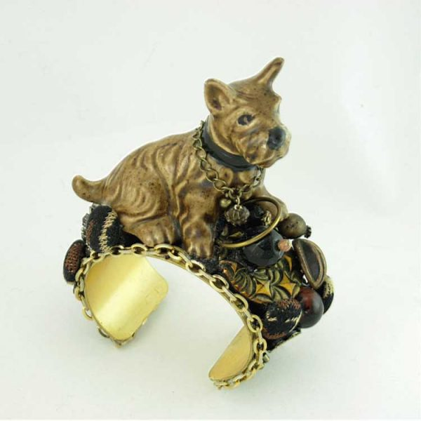 Dog Figurine Bracelet Scotty Duchess | Up-cycled Vintage Costume Jewelry