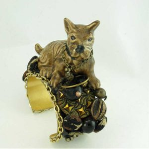 Dog Figurine Bracelet Scotty Duchess | Up-cycled Vintage Costume Jewelry