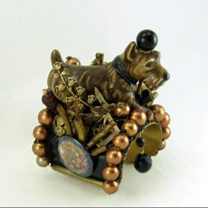 Scotty Dog Figurine Structural Cuff | Recycled Vintage Jewelry
