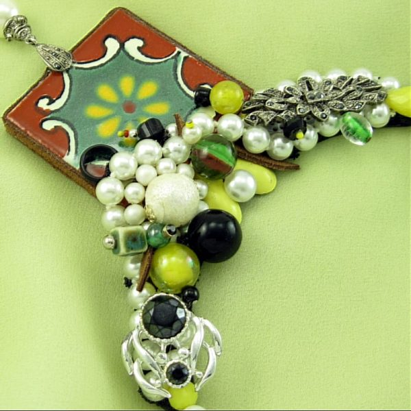 Painted Tile & Pearl Necklace