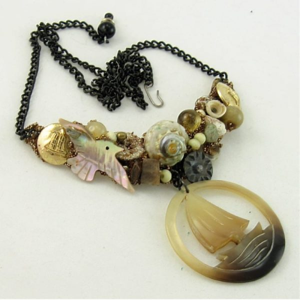 Assemblage Necklace with Sea Bound Sailing Ship Art