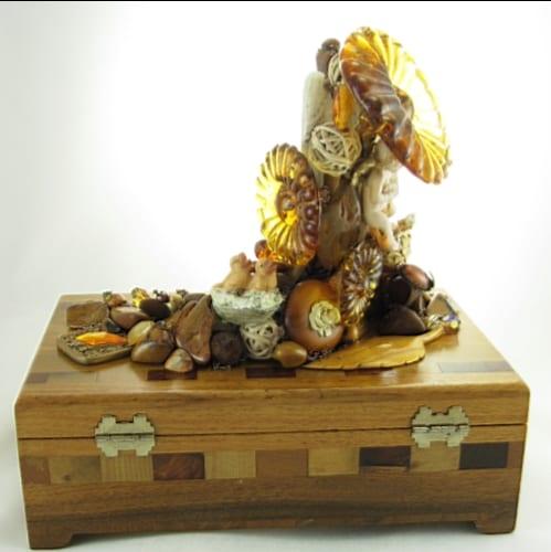 Earth Angel Jasper Wood Box Assemblage