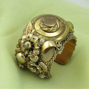 Gold Art Deco Cuff with Old Powder Puff Centerpiece