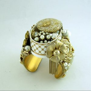 Staffordshire Golden Lattice Recycled Vintage Jewelry Couture Cuff