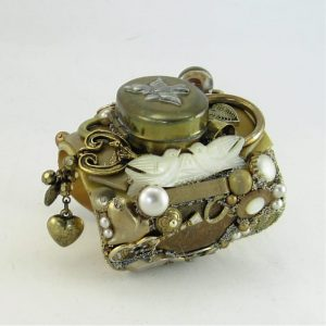 Love Bird Tradition Mother of Pearl Nuptial Wearable Art Cuff