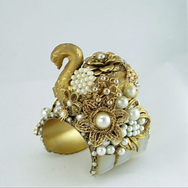 Golden Swan & Pearls Couture Cuff