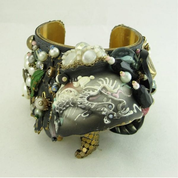 Assemblage Cuff Bracelet with Vintage Dragonware Cup