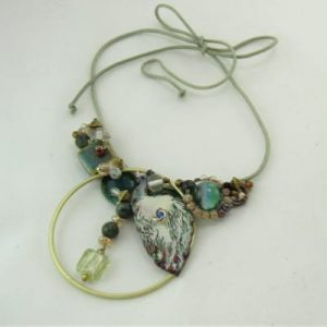 Peacock Vintage Assemblage Necklace