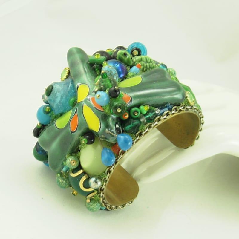 Green Dragon Fly Talavera Bracelet Cuff