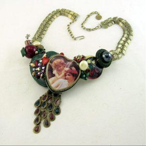 Hearts & Angel Wearable Sculptural Art Necklace