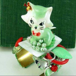 White Cat Bracelet Cuff | Repurposed Art Couture