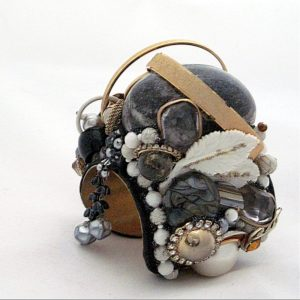 Layered Alabaster Egg Couture Bracelet