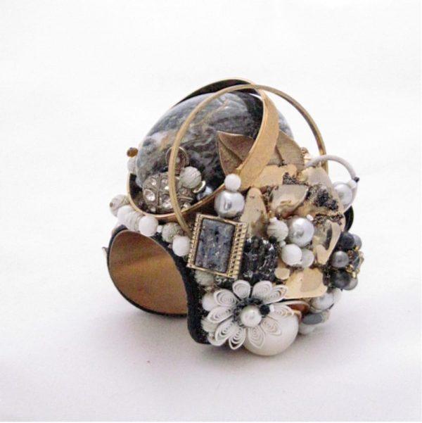 Layered Alabaster Egg Couture Bracelet