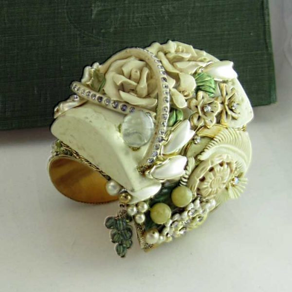 Bisque Ivory Roses Cuff Bracelet