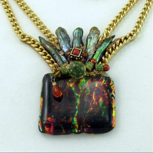 Fused Black Glass Necklace - Rainbow Colored Art Couture