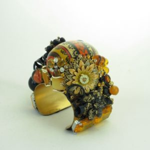 Stripes & Lace Painted Wood Egg Cuff