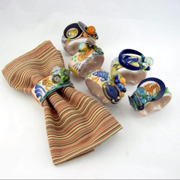 Colorful Ceramic Napkin Ring Set