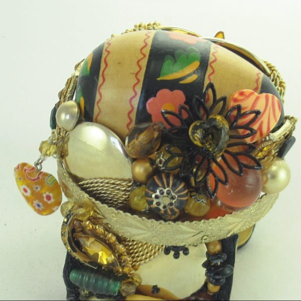 Floral Banded Wood Egg Couture Cuff