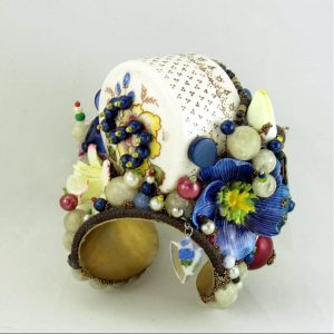 Flower Garden Salt Shaker Sculptural Art Cuff; Capodimonte Style Porcelain Flowers