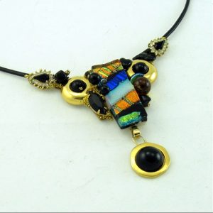 Rich Rainbow Fused Glass Art Assemblage Necklace