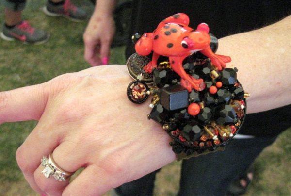 Orange Art Glass Frog Cuff