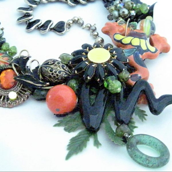 Frog Fiesta Bib Necklace in Orange