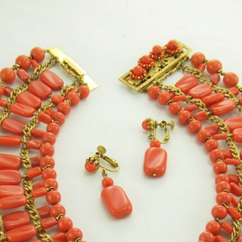 Vintage HASKELL Egyptian Coral Necklace Set
