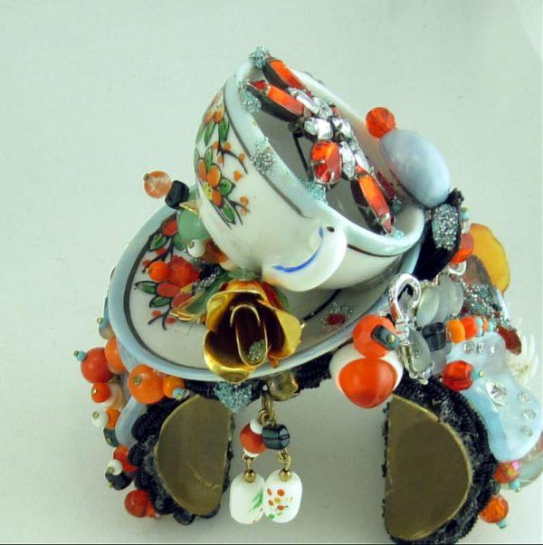 Sweet Tea Cup Rhinestone Structural Art Story Cuff