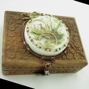 Carved Wood Assemblage Box with Pheasants