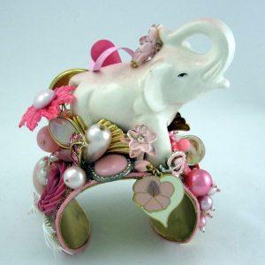 Pink Elephant on Parade Sculptural Art Cuff
