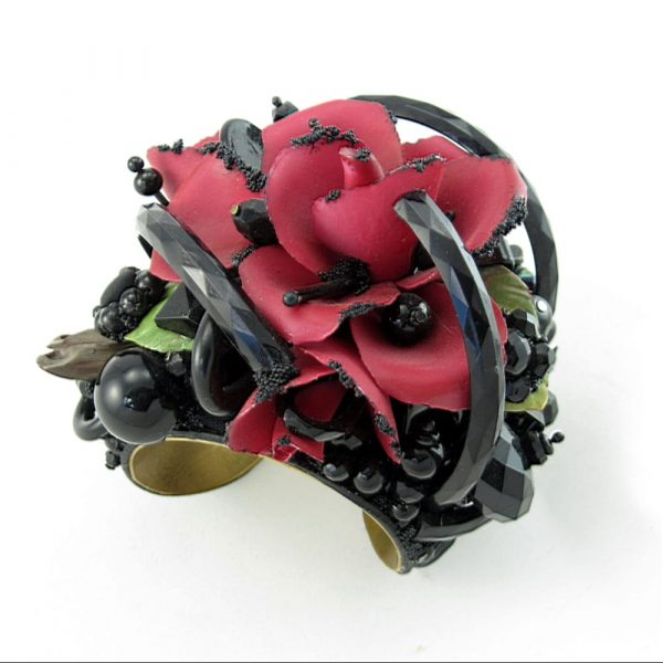Blood Rose Corsage Art Couture Cuff