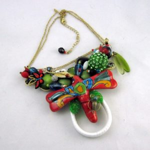 Fiesta Red Dragon Fly Necklace
